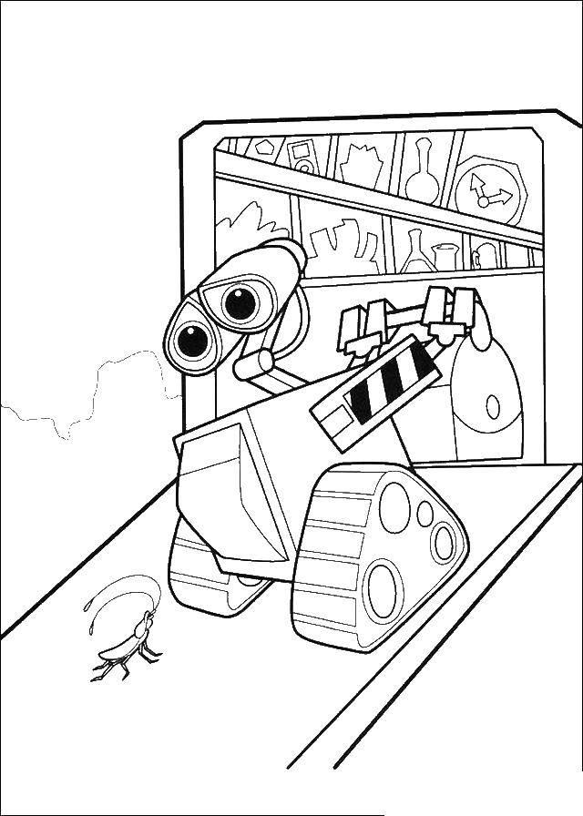 Раскраска Валли робот уборщик Скачать ,Валли, Ева, робот,.  Распечатать