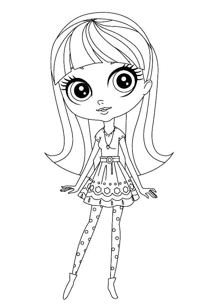 Название: Раскраска Девочка с большими глазами. Категория: мой маленький зоомаганиз. Теги: девочка, платье, глаза.