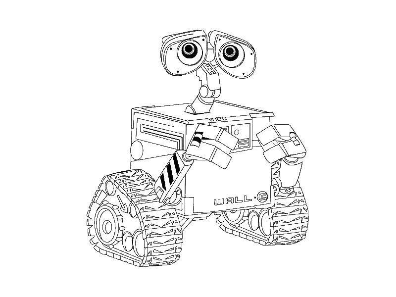 Раскраска ВАЛЛ И Скачать ,Валли, робот,.  Распечатать