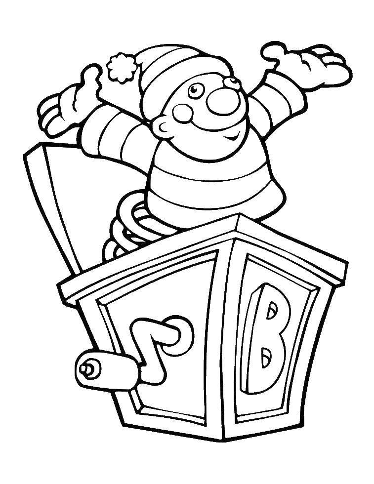 Раскраска Клоун в коробке. Скачать коробка, клоун.  Распечатать ,раскраски,