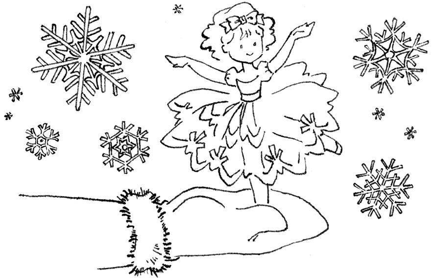 Раскраска Снежинки, маленькая балерина в руке Скачать Зима, снег, снежинки, балерина, варежки.  Распечатать ,зима,