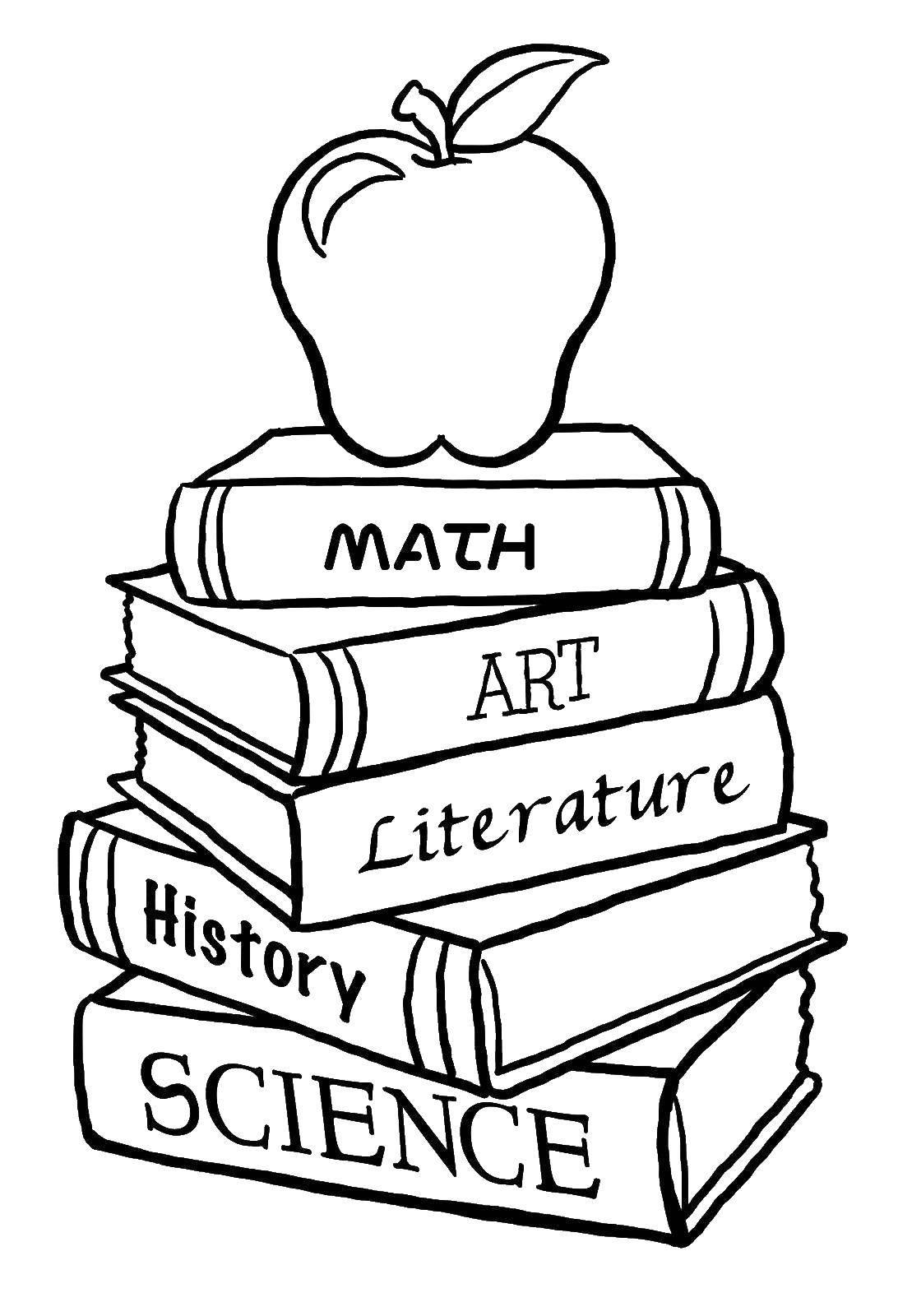 Раскраска Книги и яблоко Скачать книги, учебники, яблоко.  Распечатать ,Школьные принадлежности,