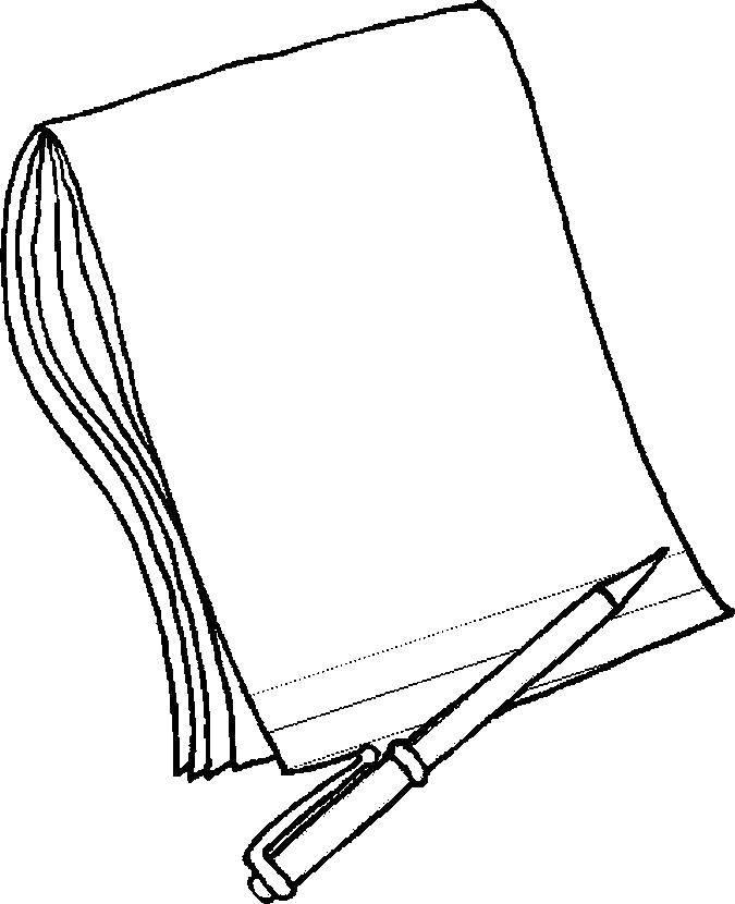 Раскраска Тетрадь с ручкой Скачать тетрадь, школа, Школьные принадлежности.  Распечатать ,Школьные принадлежности,