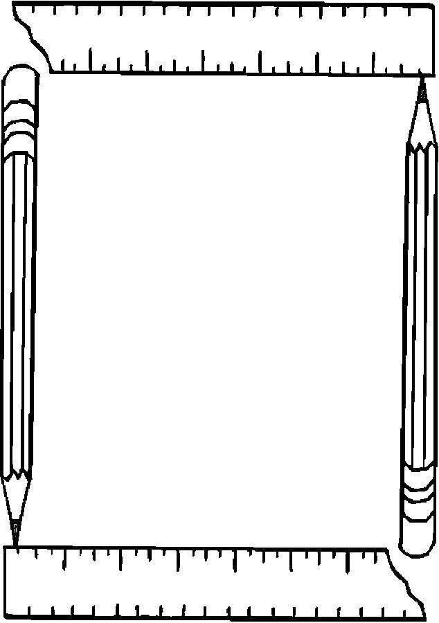 Раскраска Карандаш и линейка Скачать карандаш и линейка.  Распечатать ,Школьные принадлежности,