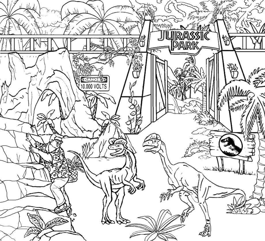 Раскраска Парк юрского периода Скачать парк юрского периода, динозавры.  Распечатать ,Диснеевские раскраски,