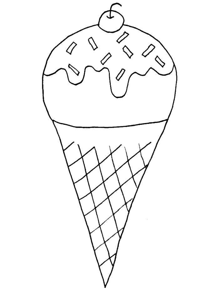 Раскраска Рожок мороженого Скачать мороженое, рожок, вишня.  Распечатать ,Лето,