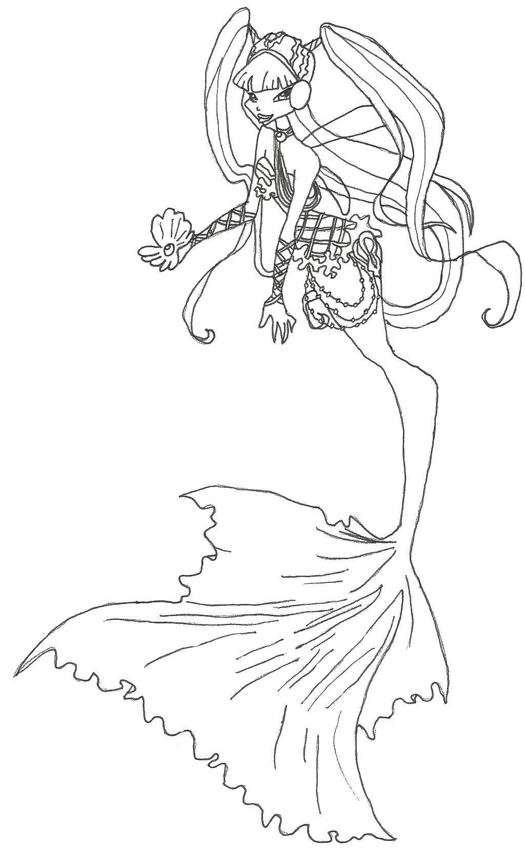 Раскраски хвостом, Раскраска Девушка с рыбьим хвостом ...