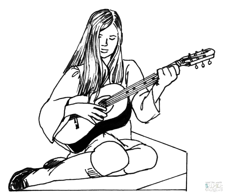 Раскраска гитара Скачать ,платья, гардероб,.  Распечатать