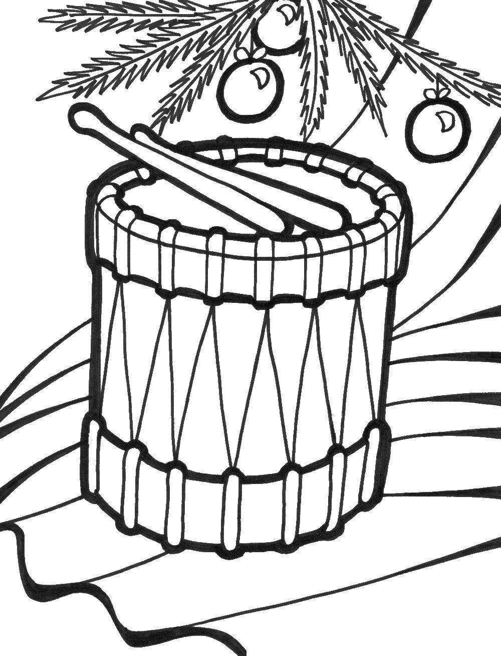 Раскраска Барабан Скачать Барабан.  Распечатать ,Барабан,