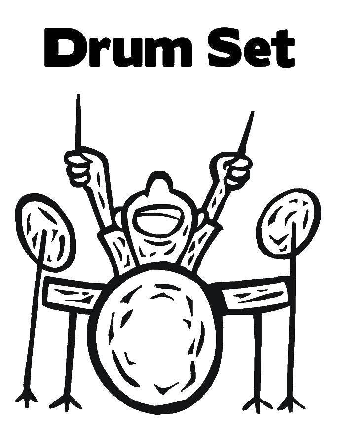 Раскраска Барабанная установка Скачать барабан, мальчик.  Распечатать ,Барабан,
