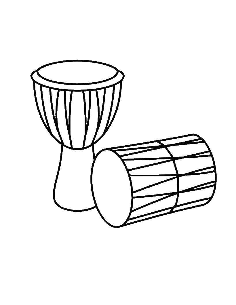 Раскраска Барабаны Скачать Барабан.  Распечатать ,Барабан,