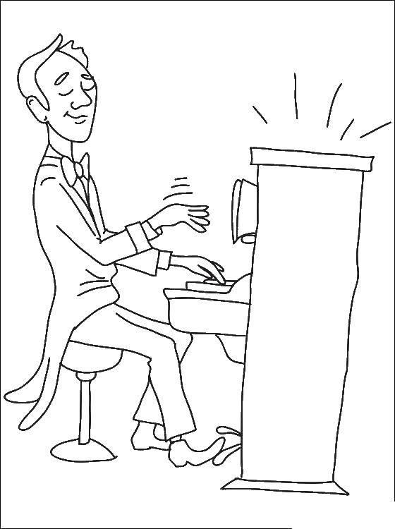Раскраска Мужчина играет на пианино Скачать пианино, мужчина.  Распечатать ,Пианино,