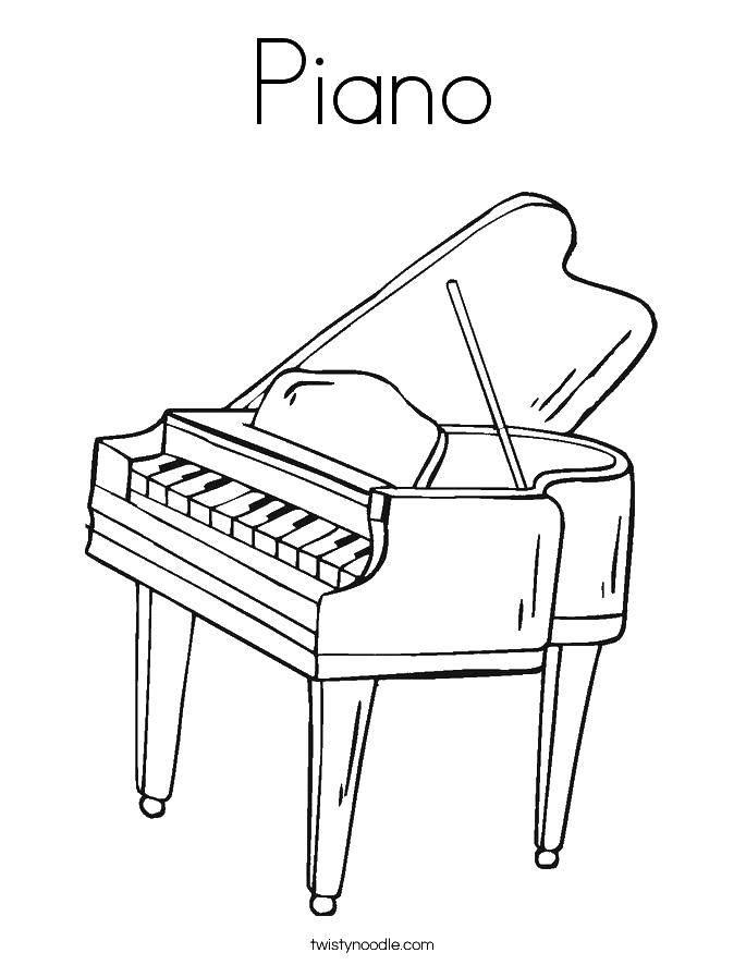 Раскраска Пианино на английском Скачать пианино.  Распечатать ,Пианино,