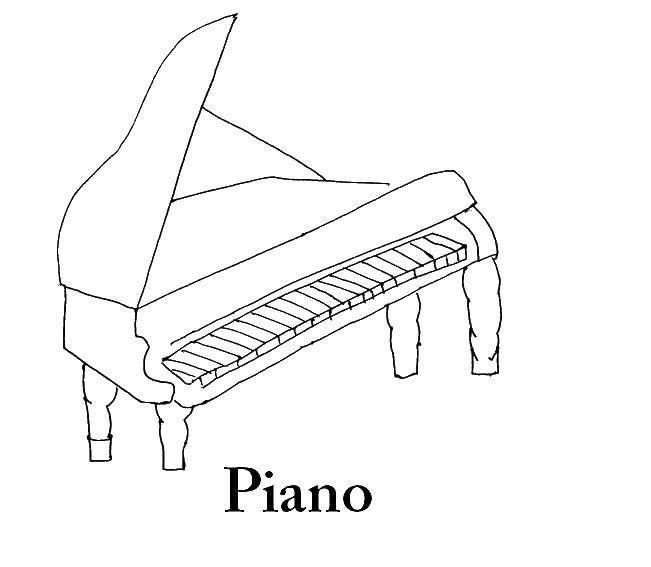 Раскраска Пианино Скачать пианино.  Распечатать ,Пианино,