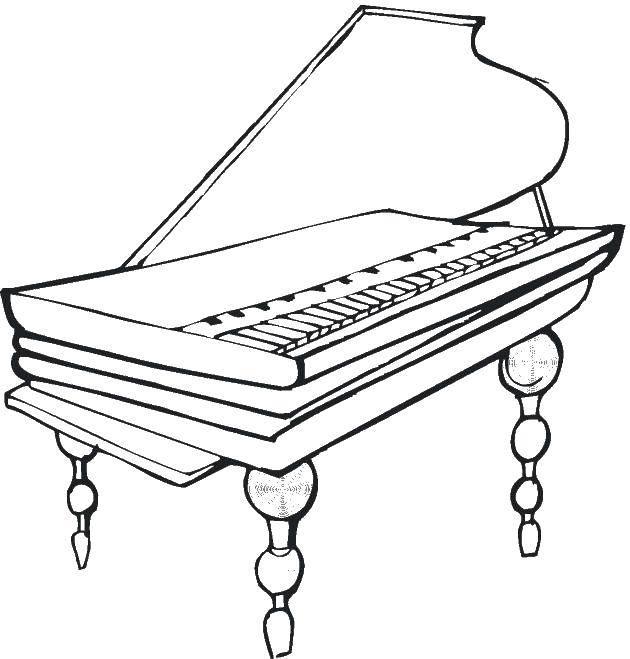 Раскраска Пианино Скачать Пианино, инструмент.  Распечатать ,Пианино,