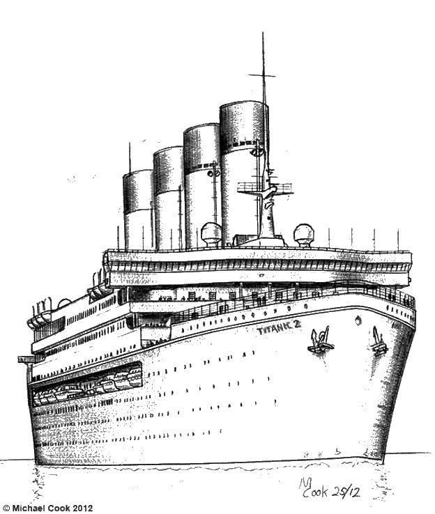 Раскраска Титаник 2 Скачать титаник 2.  Распечатать ,Титаник,