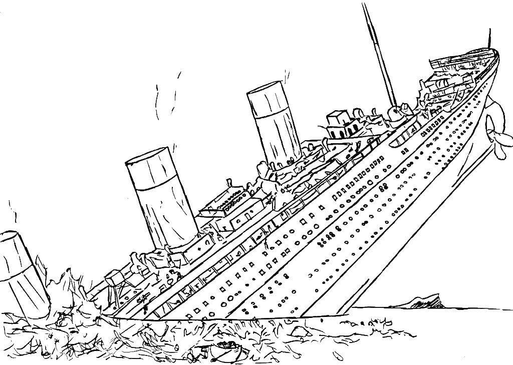 Раскраска Титаник потонул Скачать Титаник, корабль.  Распечатать ,Титаник,