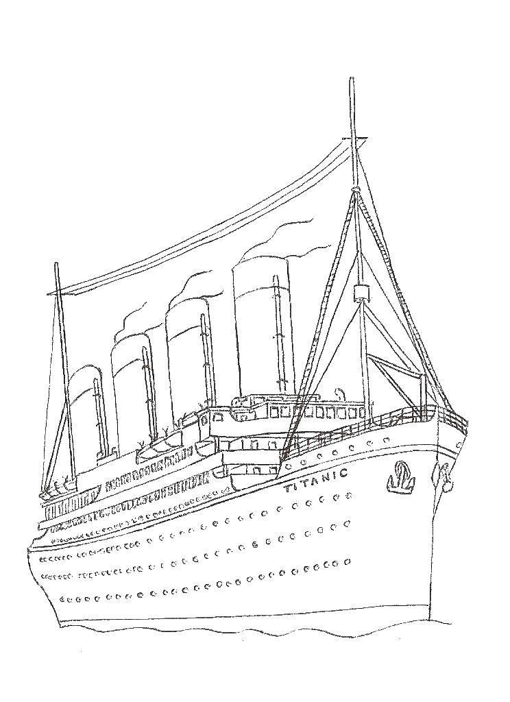 Раскраска Титаник Скачать ,Титаник, корабль,.  Распечатать