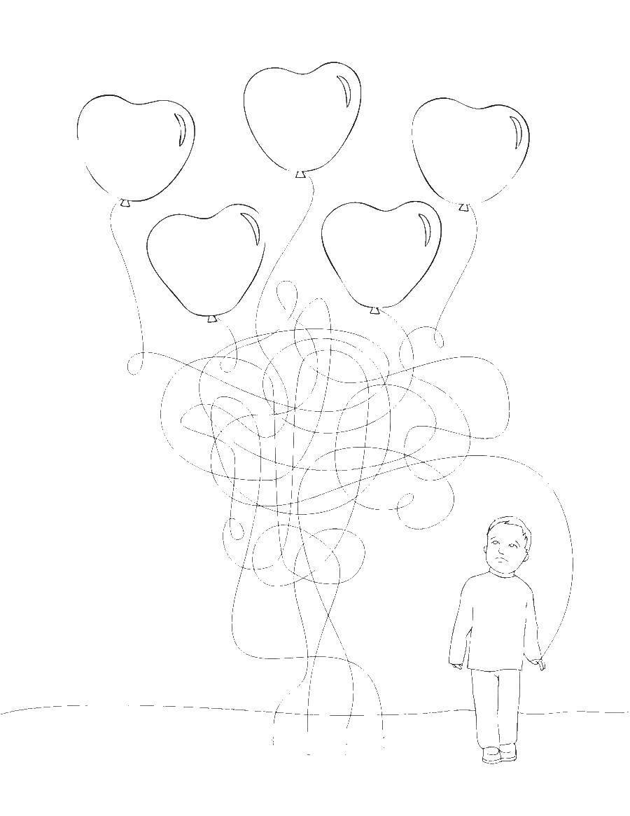 Раскраска Мальчик и воздушные шары Скачать лабиринт.  Распечатать ,лабиринт,
