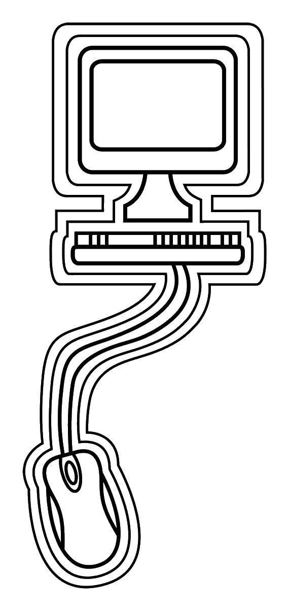 Раскраска Компьютер с мышкой Скачать компьютер.  Распечатать ,Техника,