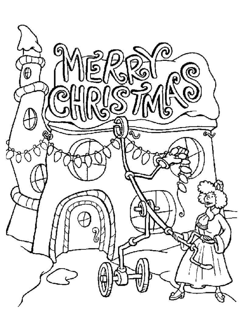 Раскраска Поздравление на рождество Скачать поздравление, рождество.  Распечатать ,поздравление,