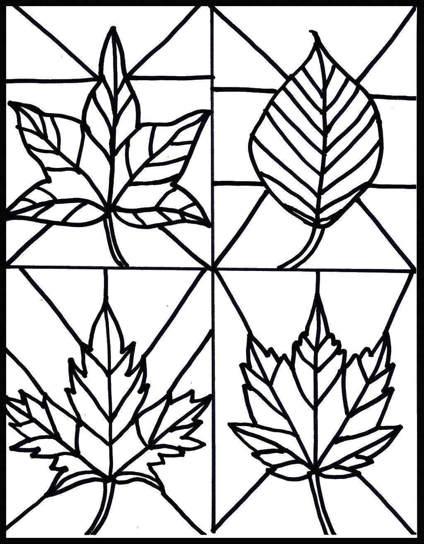 Раскраска Витражи листья Скачать листья, витражи.  Распечатать ,листья,