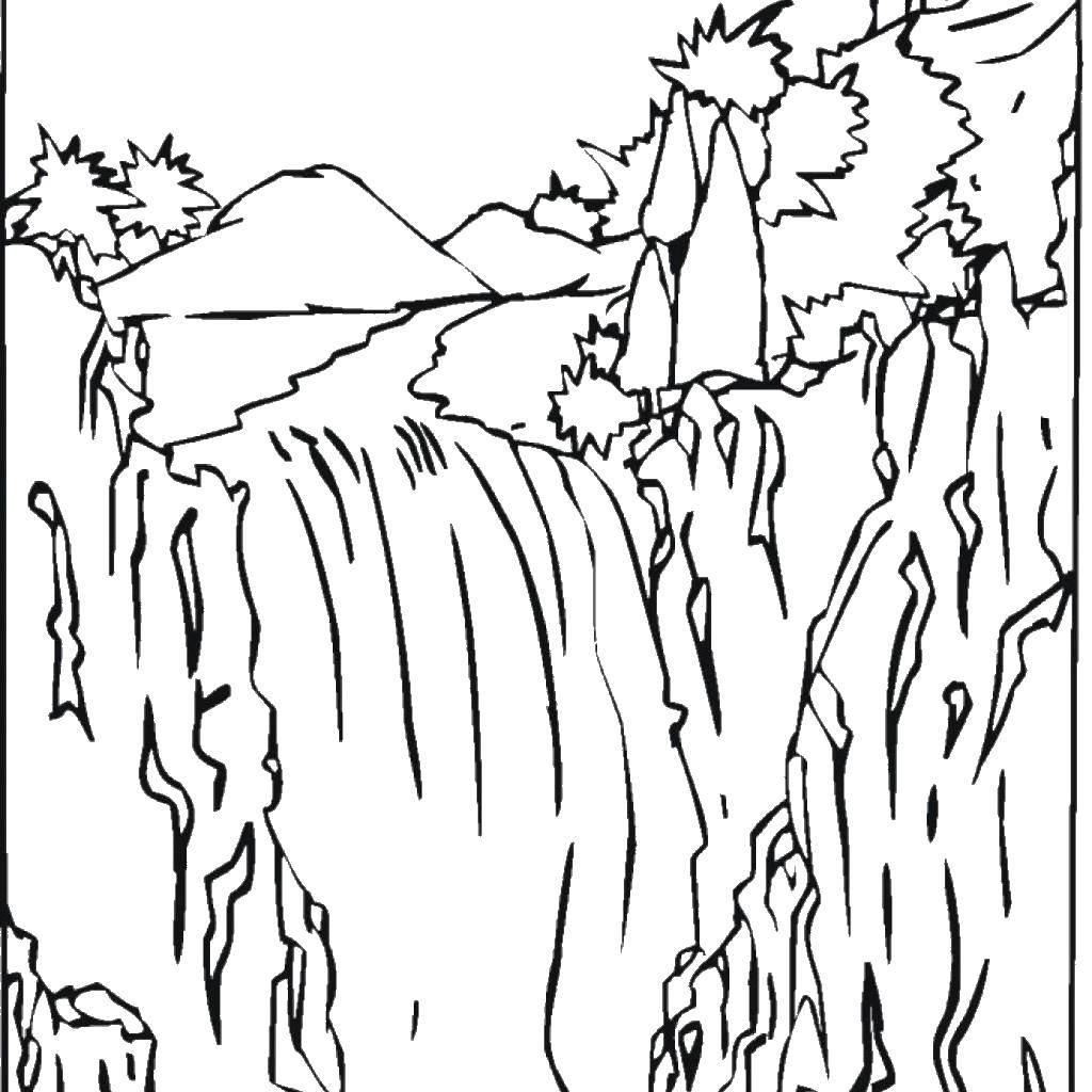 Раскраска водопад Скачать ,водопад,.  Распечатать
