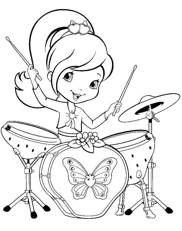 Раскраска Шарлотта клубничка играет на барабанах Скачать Шарлотта, мультик.  Распечатать ,раскраски для девочек,
