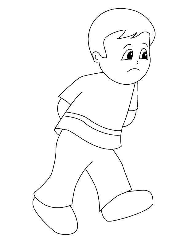 Раскраска Грустный мальчик Скачать ,эмоции, грусть, мальчик,.  Распечатать