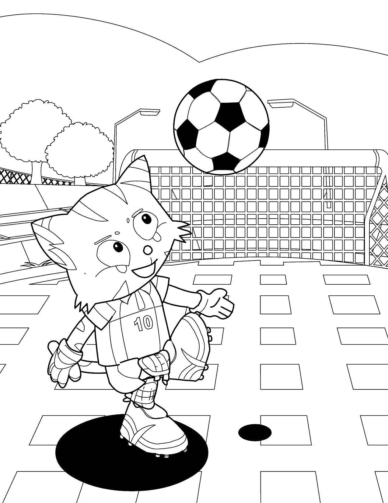 Раскраска Котик играет в футбол Скачать футбол, спорт, котик.  Распечатать ,Футбол,