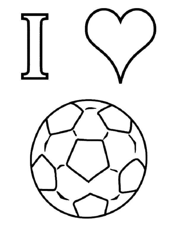 Раскраска Я люблю футбол Скачать футбол, спорт, игра, мяч.  Распечатать ,Футбол,