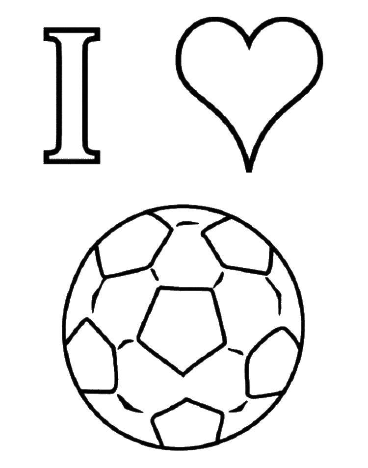 Раскраска Я люблю футбол Скачать футбол, я люблю футбол, мяч.  Распечатать ,Футбол,
