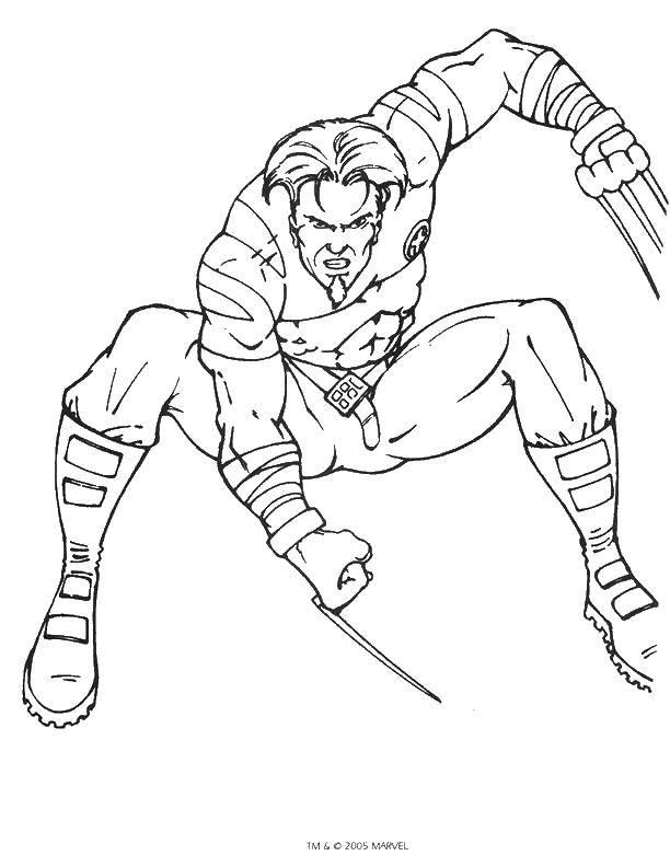 Раскраска Росомаха из комиксов Скачать комиксы, Люди Икс, Росомаха.  Распечатать ,Люди икс,