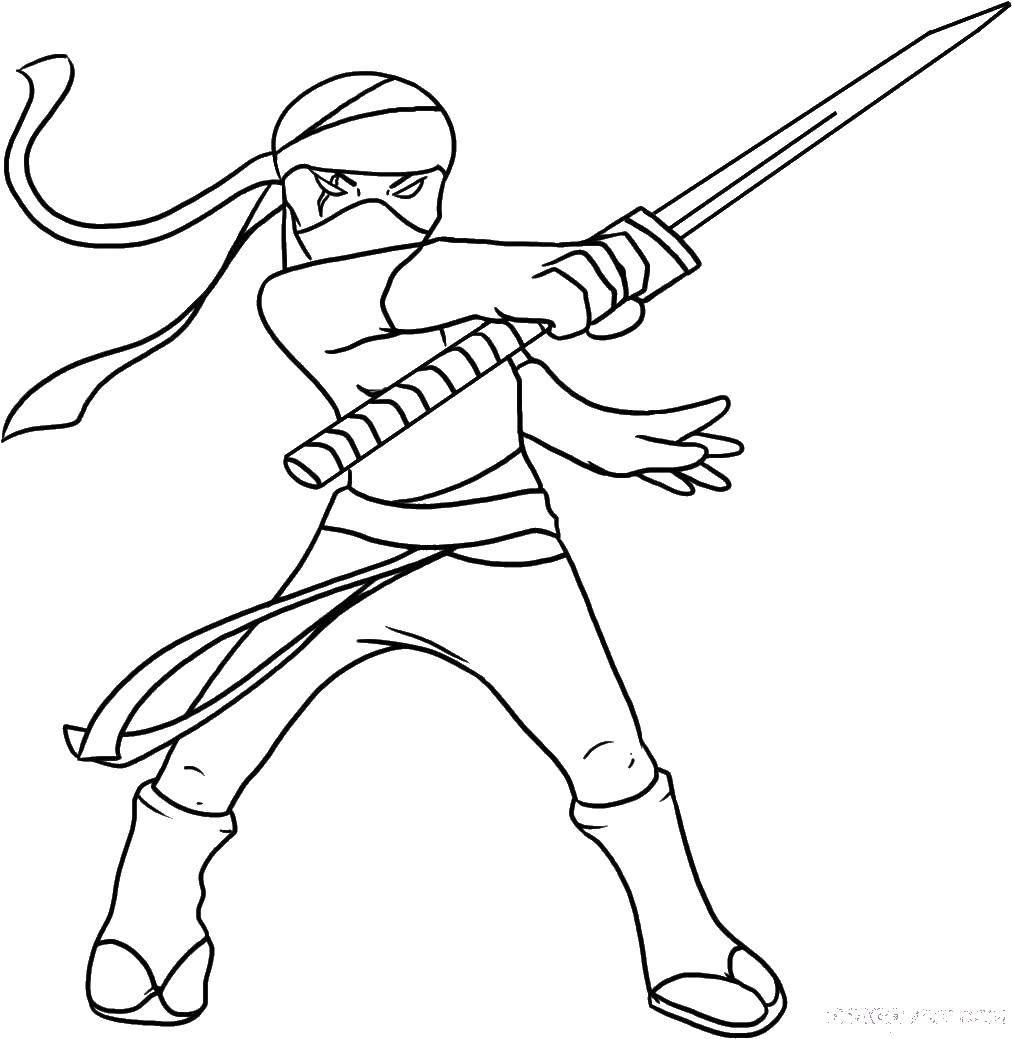 Раскраска Ниндзя девушка Скачать Ниндзя, воин.  Распечатать ,ниндзя,