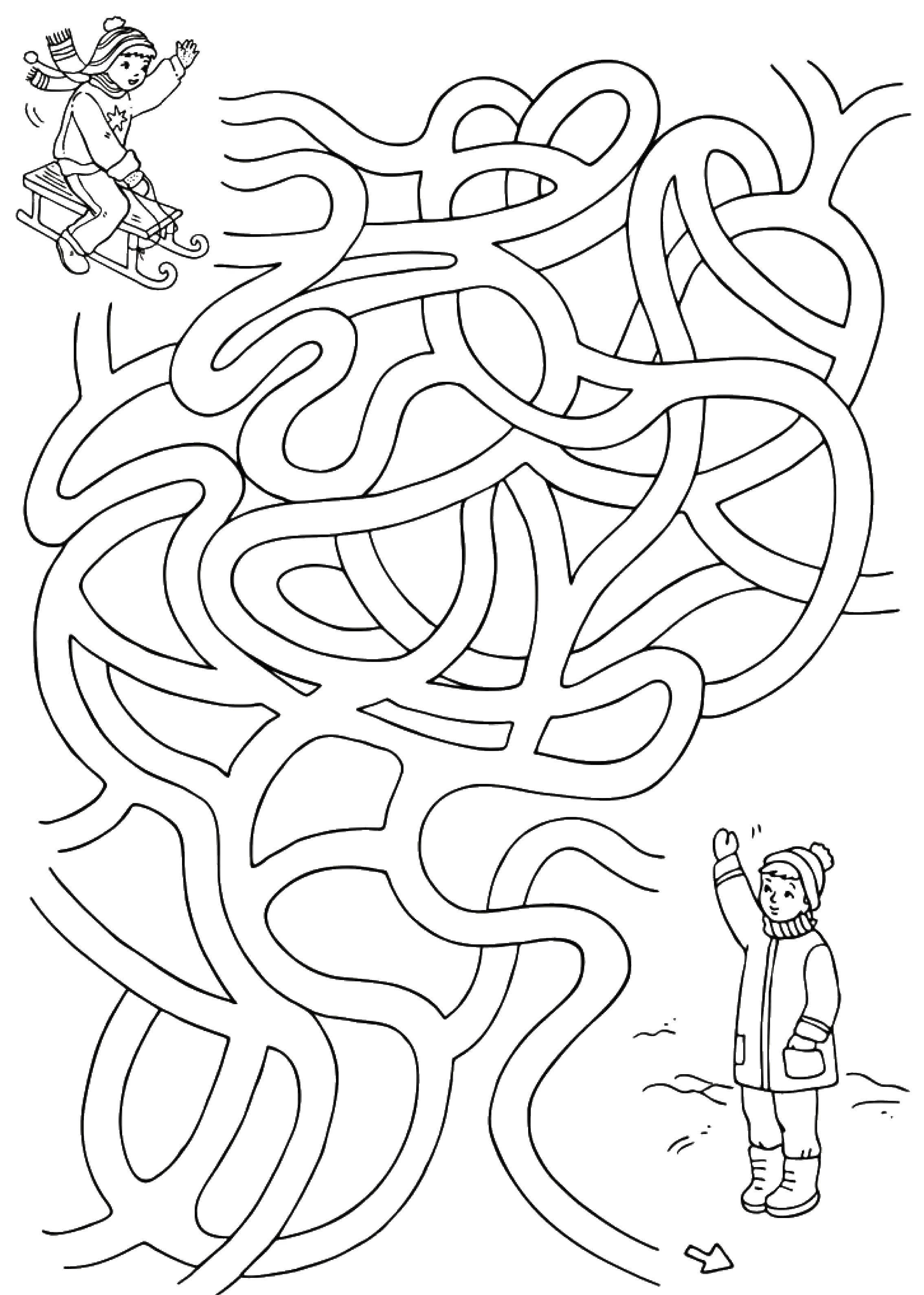 Раскраска Пройди лабиринт на санях Скачать Лабиринт, логика.  Распечатать ,ребусы для детей,