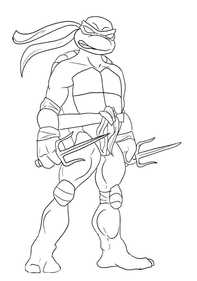 Раскраска Черепашка ниндзя с оружием Скачать мультфильмы, черепашки ниндзя, ниндзя.  Распечатать ,ниндзя,