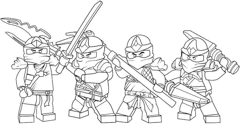 Раскраска Четыре ниндзя Скачать ниндзя, войны, бойцы.  Распечатать ,ниндзя,
