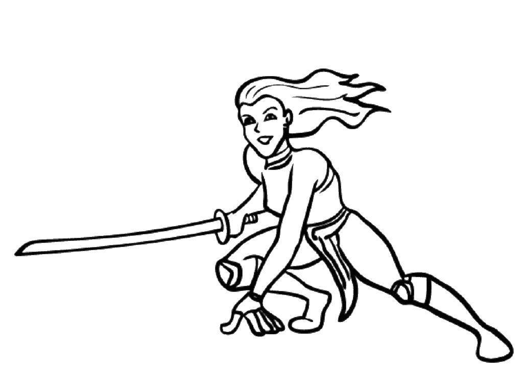 Раскраска Девушка ниндзя с мечом Скачать девушка, ниндзя, меч.  Распечатать ,ниндзя,