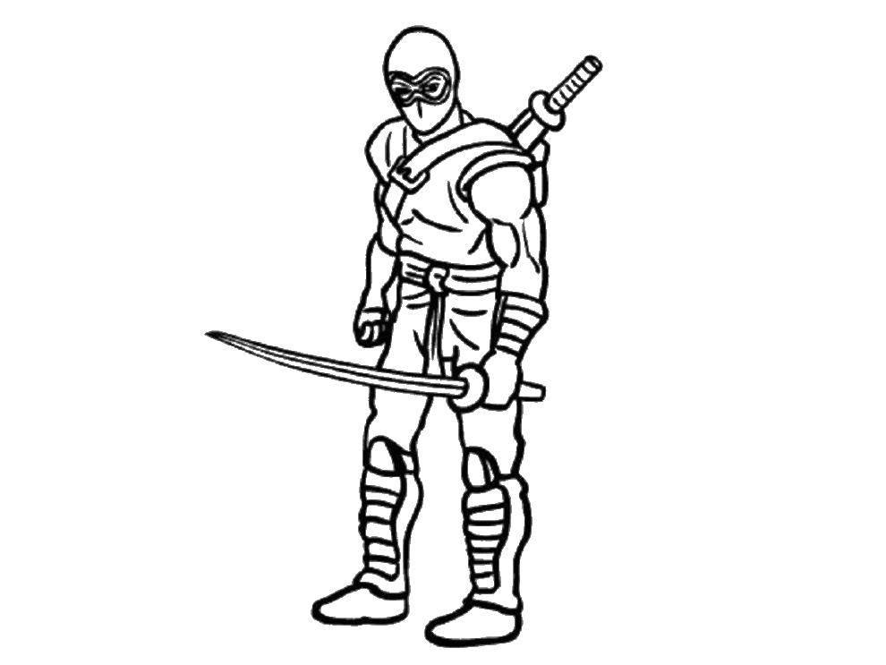 Раскраска Храбрец ниндзя Скачать Ниндзя, воин.  Распечатать ,ниндзя,