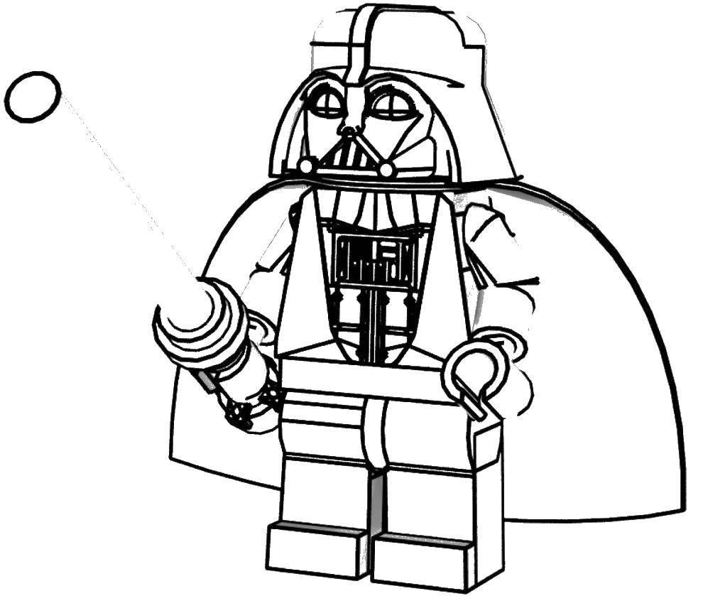 Раскраска Лего дарт вейдер Скачать лего, конструктор, Дарт Вейдер.  Распечатать ,Лего,