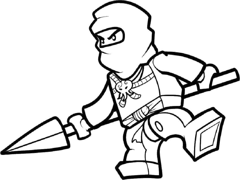 Раскраска Лего ниндзя с мечом Скачать лего, ниндзя, конструктор.  Распечатать ,ниндзя,