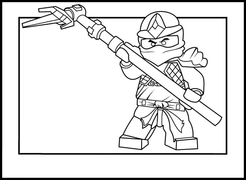 Раскраска Лего ниндзя с оружием Скачать нинидзя, лего, конструктор.  Распечатать ,ниндзя,