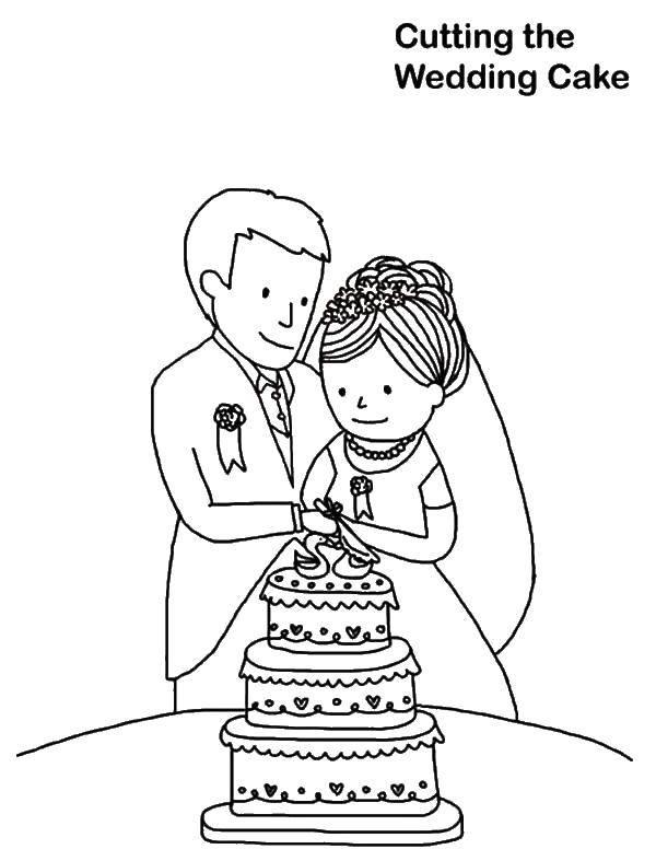 Раскраска Молодожены режут торт Скачать свадьба, жених, невеста, торт.  Распечатать ,Свадьба,