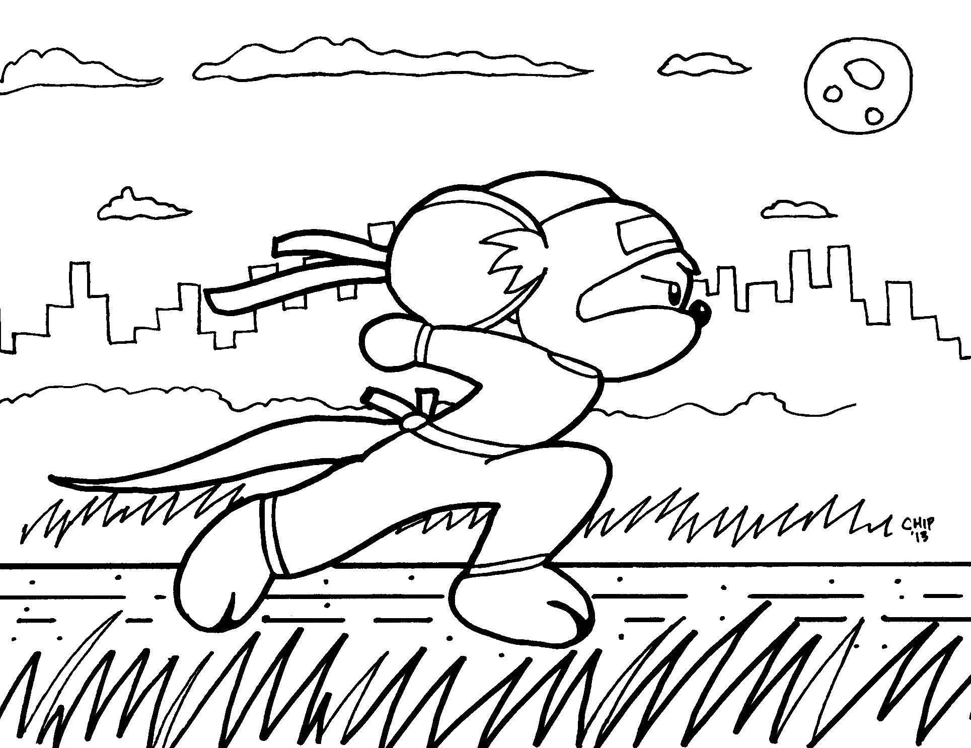 Раскраска Мышонок ниндзя Скачать Ниндзя, воин.  Распечатать ,ниндзя,