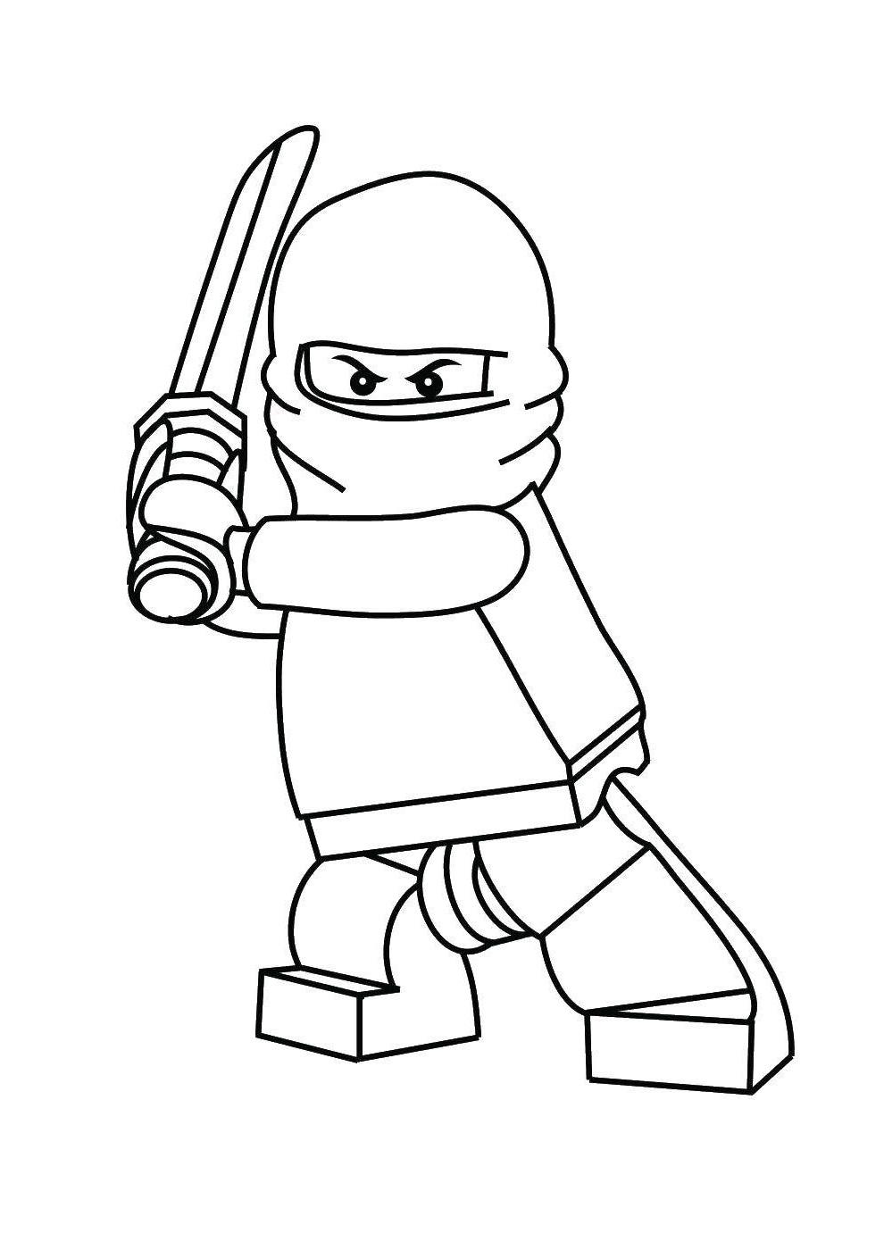 Раскраска Ниндзя с мечом Скачать Ниндзя, конструктор, Лего.  Распечатать ,ниндзя,