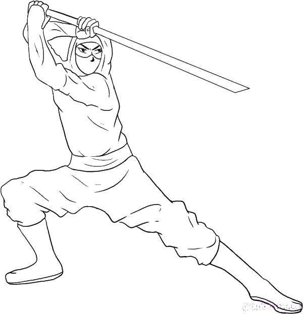 Раскраска Ниндзя с оружием Скачать ниндзя, воин, меч, оружие.  Распечатать ,ниндзя,