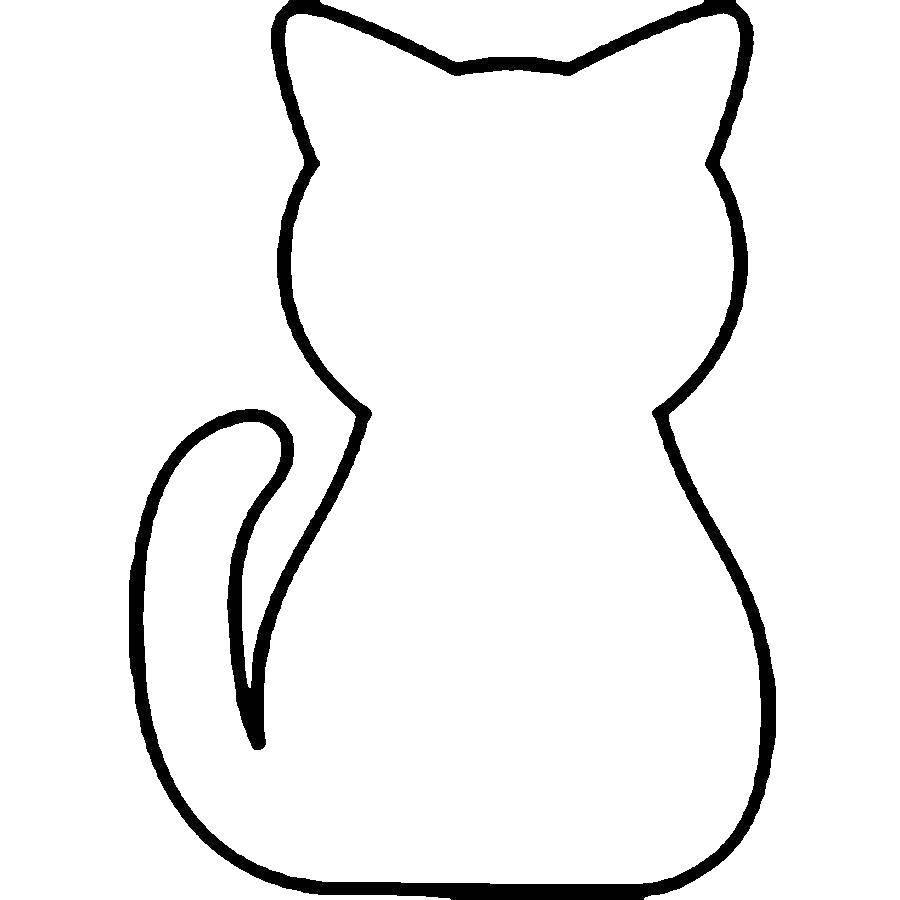 Раскраска Трафарет кошки Скачать шаблон, трафарет, кошка.  Распечатать ,Шаблоны для вырезания,