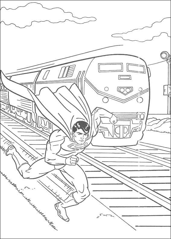 Раскраска Супермэн быстрее поезда Скачать Комиксы, СуперМэн.  Распечатать ,Комиксы,