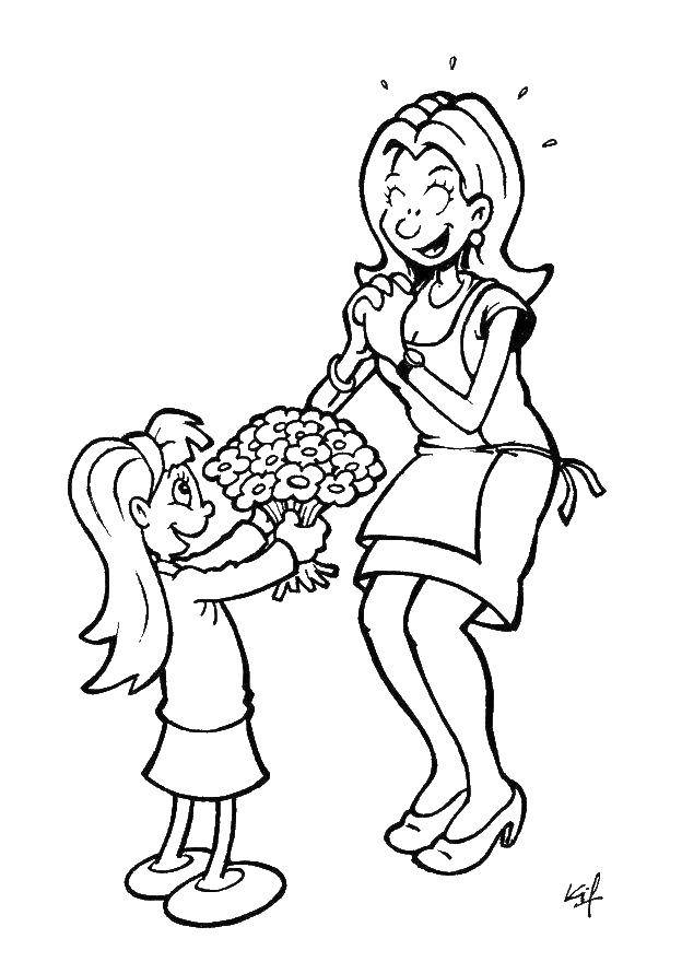 Раскраска Цветы в подарок маме Скачать ,Поздравление, 8 марта, праздник, Женский день,.  Распечатать