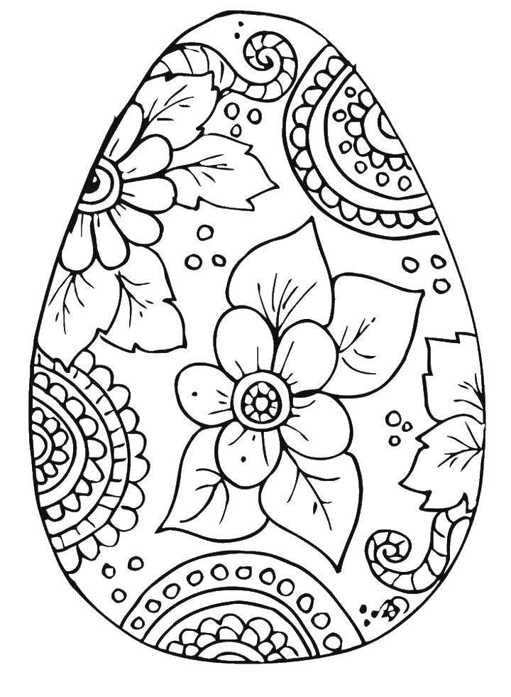Раскраска пасха Скачать ,узоры, яйца, яйцо, цветы, раскраски,.  Распечатать